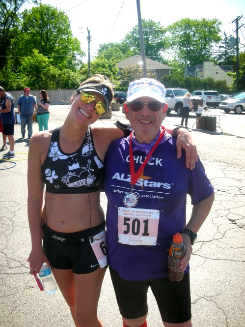 Memorial Day race in Deerfield with Chuck on his quest for 73 races during his 70th year, fundraising to #EndALZ 5.30.16